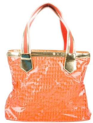 Just Cavalli Leather-Trimmed Printed Tote