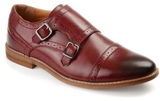 Generic Territory Mens Buckle Cap Toe Faux Leather Double Monk Strap Dress Shoes