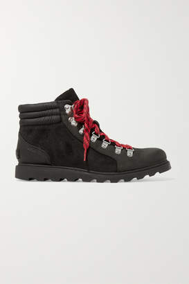 Sorel Ainsley Conquest Waterproof Leather And Suede Ankle Boots - Black