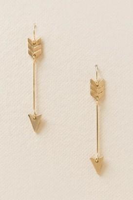 francesca's Ivana Arrow Drop Earrings - Gold