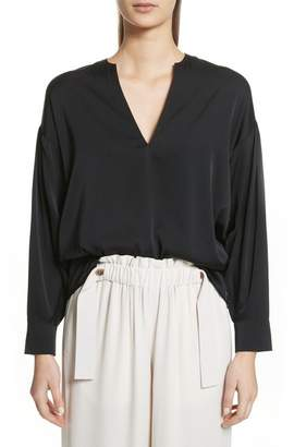 Vince Ruched Split Neck Stretch Silk Blouse