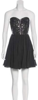 Rebecca Taylor Sequined Strapless Mini Dress