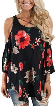 MuCoo Ladies Cut Out Off Shoulder 3/4 Sleeve Floral T Shirt Blouse Tops XXL