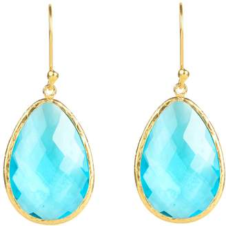 Latelita London - Single Drop Earring Gold Blue Topaz Hydro
