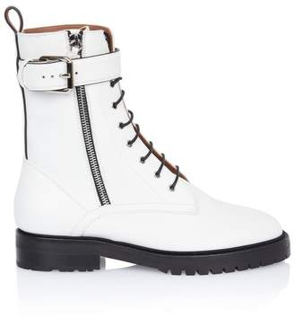 Tabitha Simmons Max White Leather Combat Boot