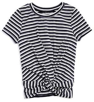 Aqua Girls' Ribbed Twist-Front Tee, Big Kid - 100% Exclusive