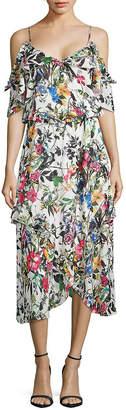 Parker Cold-Shoulder Floral Ruffle Dress