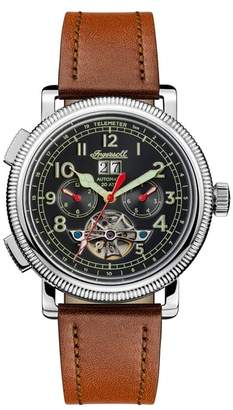 Ingersoll WATCHES Bloch Open Heart Automatic Multifunction Leather Strap Watch, 45mm