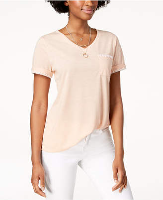 Style&Co. Style & Co Whip-Stitch Pocket T-Shirt, Created for Macy's