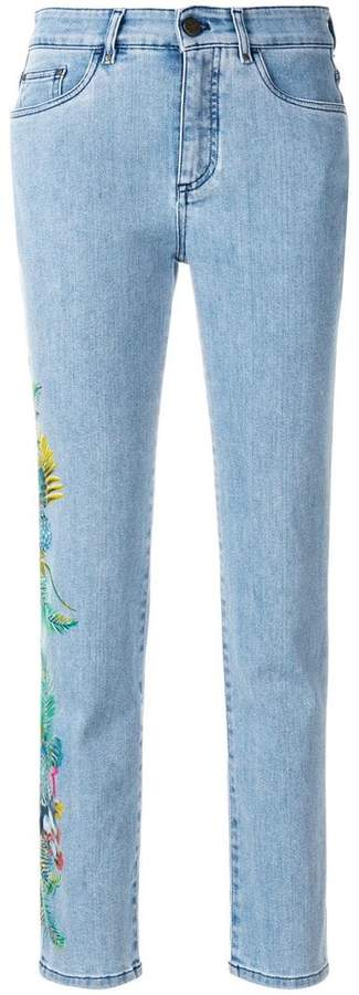 cropped floral detail jeans