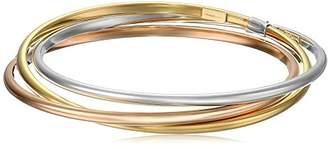 14k Gold-Bonded Sterling Silver Tri-Color Interlocking Bangle Bracelets