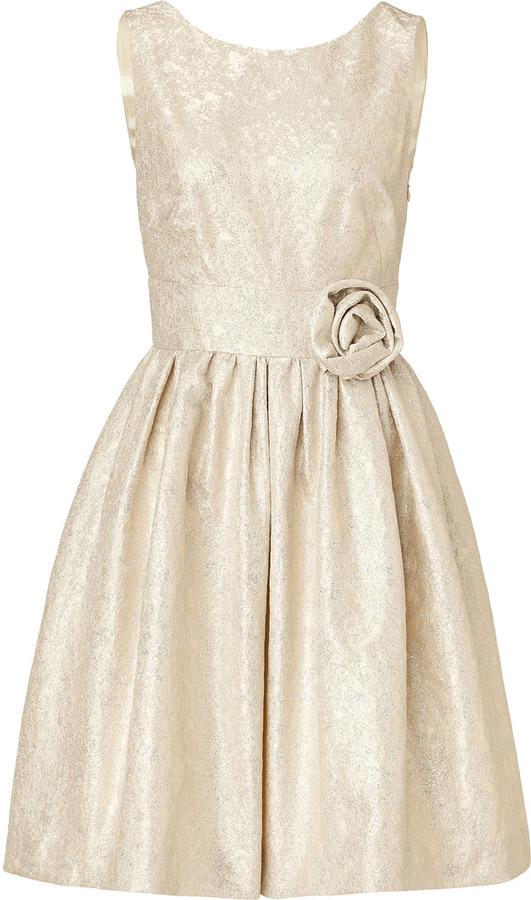 Paule Ka Jacquard Dress with Rose Sash