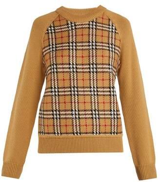Burberry Walsham Vintage Check Wool Sweater - Womens - Beige Multi