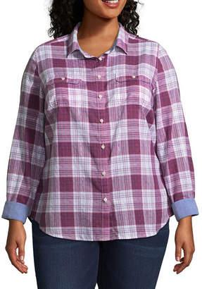 ST. JOHN'S BAY Long Sleeve Button Up Classic Shirt - Plus