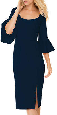 Donna Morgan 3/4 Bell-Sleeve Midi Cocktail Dress