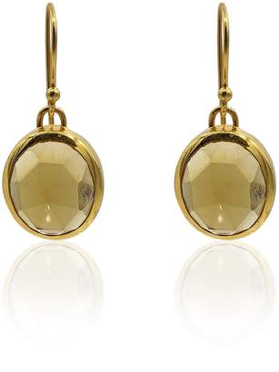 Eliza J Bautista Aissa Whisky Quartz Earrings In 18K Gold Vermeil On Sterling Silver