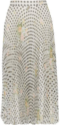 Christopher Kane Pleated Printed Organza Midi Skirt - Off-white
