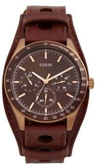GUESS Montana Quartz Leather Strap Watch