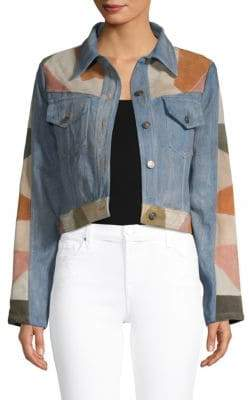 Free People Dallas Suede & Denim Cropped Jacket