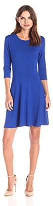 Lark & Ro Women's Three Quarter Sleeve Knit Fit and Flare Dress