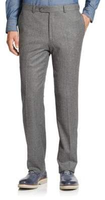 Saks Fifth Avenue Men's COLLECTION Wool Flat-Front Pants - Light Grey - Size 32