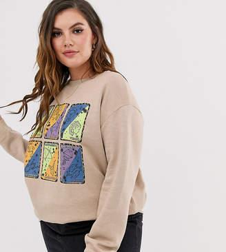Daisy Street Plus relaxed sweatshirt with tarot card print
