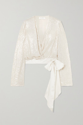 Jenny Packham Penelope Satin-trimmed Sequined Silk-chiffon Wrap Blouse - Ivory