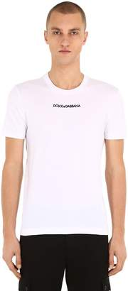 Dolce & Gabbana Logo Embroidered Cotton Jersey T-Shirt
