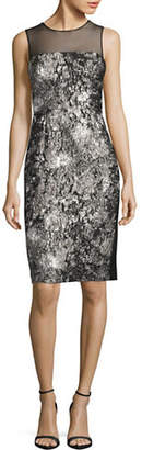 Vera Wang Sleeveless Illusion Upper Brocade Cocktail Dress