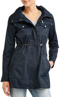 Yoki Women's Anorak Water Resistant Trench Jacket With Cinch Waist Adjuster And Removeable Hood
