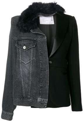 Sacai contrast denim blazer jacket