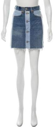 RE/DONE Colorblock Denim Mini Skirt
