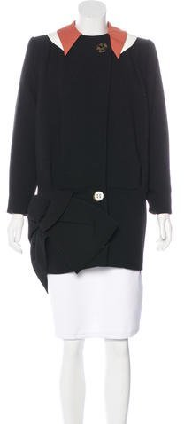 Miu MiuMiu Miu Virgin Wool Knot-Accented Coat