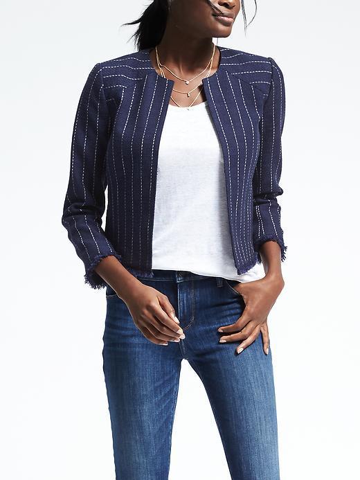 Banana Republic Stripe Collarless Boucle Jacket