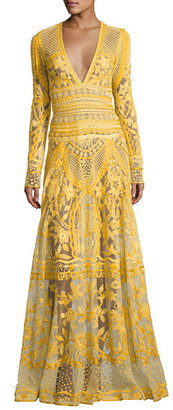 Thread-Embroidered Long-Sleeve Gown, Yellow