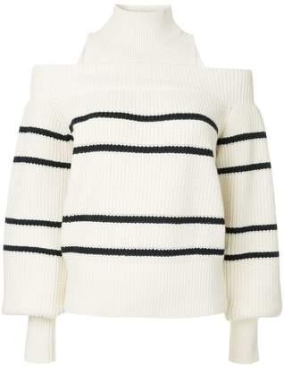Self-Portrait striped cold shoulder jumper
