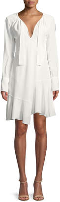 Derek Lam 10 Crosby Long-Sleeve Tie-Neck Asymmetric A-Line Dress