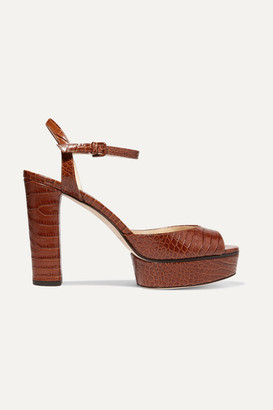 Jimmy Choo Peachy 105 Croc-effect Leather Platform Sandals - Tan