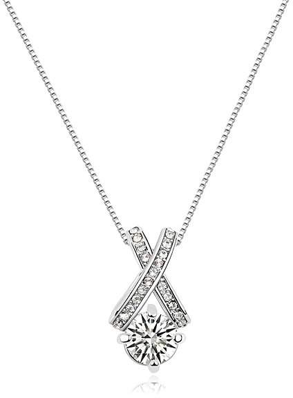 Cubic Zirconia & White Gold XO Necklace