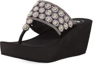 Premium Collection by Yellow Box Embellished Platform Flip-Flop Sandals