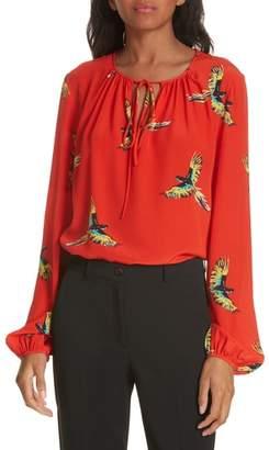 Diane von Furstenberg Split Neck Silk Blouse