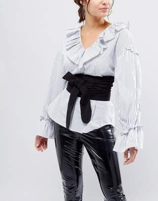 Asos Design DESIGN black fabric obi belt