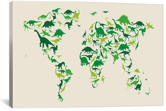 iCanvas 'Dinosaur Map of the World' by Michael Tompsett Canvas Art