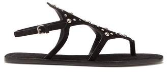 Saint Laurent Ella Suede Studded Sandals - Womens - Black
