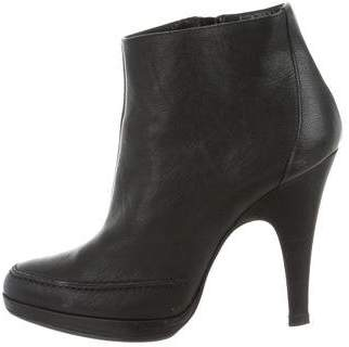 Nicole Farhi Leather Round-Toe Ankle Boots