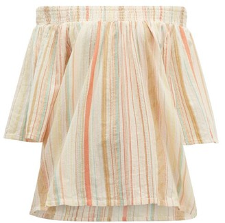Ace&Jig Marisol Off The Shoulder Striped Cotton Top - Womens - Ivory Multi