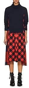 Sacai Women's Checked Mixed-Media Dress - Navy, Orange