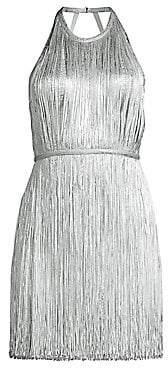 Herve Leger Women's Foil Fringe Mini Dress