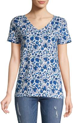 Lord & Taylor Petite Floral Cotton Tee