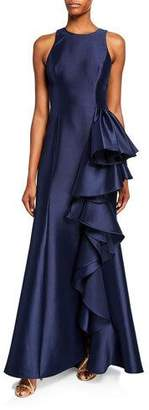 Badgley Mischka Mikado Halter Gown with Side Bow Drape